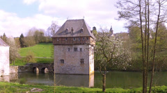 The 13th Century Castle of small Belgian town Crupet. Stock Footage