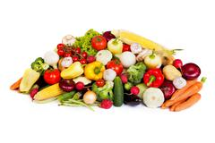 Group of fresh vegetables isolated on white - stock photo