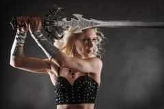 woman and sword - stock photo