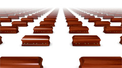 Dolly forward over many Coffins (Wood) to none - stock footage
