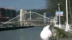 Zubizuri Bridge, Santiago Calatrava in Bilbao, Spain, Stock Footage