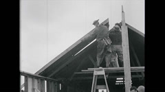 WW2 - US Navy - Pacific - Soldiers 03 - Building Barracks Stock Footage