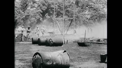 WW2 - US Navy - Pacific - Soldiers 04 - In Camp Base, Burning, Smoking, Infantry Stock Footage