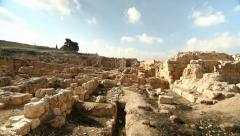 Tilt down at archaeological site Stock Footage