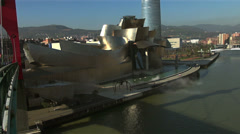 Facade of Guggenheim Museum in Bilbao Stock Footage