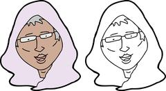 senior muslim woman - stock illustration