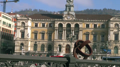 Bilbao Town Hall and sculpture Variante Ovoide Stock Footage