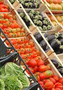 Boxes full of fresh fruits and vegetables Stock Photos