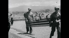 WW2 - US Navy - Pacific - Soldiers 08 - Airfield Construction 02 Stock Footage