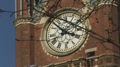 St Pancras station clock close up Stock Footage