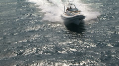 Aerial view of navigating maxi rib - stock footage