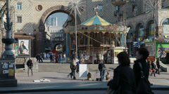 Carusel near Maidan square in Kiev Stock Footage