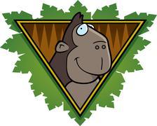 Gorilla safari icon Stock Illustration