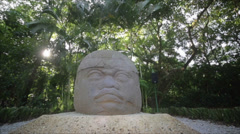 Stock Video Footage of Prehispanic Carved face