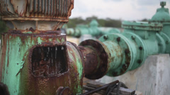 Water pipes rusty and old system - stock footage