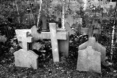 tombstones on an old catholic cemetery - stock photo