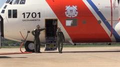 US Coast Guard, Military ,pre flight inspection Stock Footage
