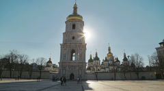 Saint Sophia Cathedral at sunset Stock Footage