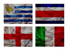 Stock Illustration of wave flags for soccer championship 2014. groups d