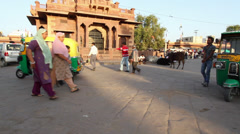 Indian market at sunset in Rajasthan Stock Footage