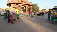 Stock Video Footage of Indian market at sunset in Rajasthan