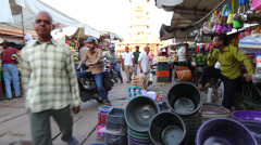 Colorful Indian market at sunset Stock Footage