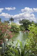 view of the lake inside of the park de la ciutadela in barcelona spain - stock photo