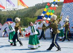 dancers at world mongolians convention - stock photo