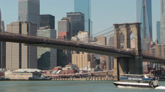 Stock Video Footage of New York City manhattan skyline ove Brooklyn Bridge