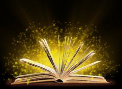 Stock Illustration of Book. Opened book with special light. Education