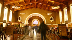 4K Los Angeles Union Station Historic Hallway Time Lapse -Looping- - stock footage