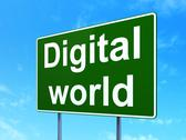 Stock Illustration of Data concept: Digital World on road sign background