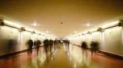 Union Station Commuters in the Hallway Time Lapse -Tilt Down- - stock footage