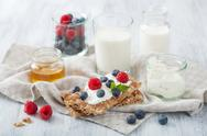 Stock Photo of crisp bread with creme fraiche and berries