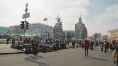 People visiting Maidan square - Euromaidan revolution in Kiev Stock Footage