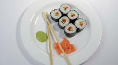 Sushi  isolated on white background Stock Footage