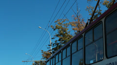 City street. Trolleybus and overhead wires Stock Footage