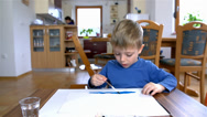 Stock Video Footage of Youngest Creator With Paintbrush Drawing