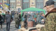 Field kitchen on Maidan square - Euromaidan revolution in Kiev Stock Footage