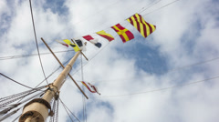 Nautical Flags and Sky Time Lapse Video Stock Footage