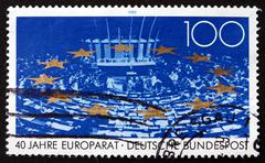 Postage stamp Germany 1989 Council of Europe - stock photo