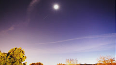 Nice stars and moon night sky time lapse sequence - stock footage