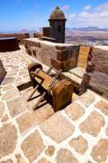 winch house  castillo de las coloradas  lanzarote  spain the old - stock photo