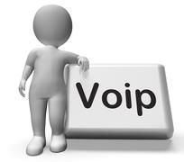 Voip button with character  means voice over internet protocol Stock Illustration