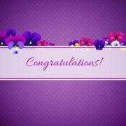 Stock Illustration of congratulations card with pansies