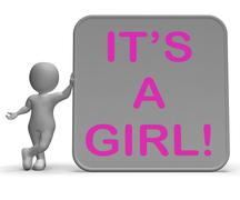 it's a girl sign means announcing female baby - stock illustration