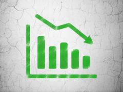 Stock Illustration of Finance concept: Decline Graph on wall background