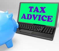 Tax advice laptop shows professional advising on  taxation Stock Illustration