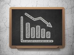 Stock Illustration of News concept: Decline Graph on chalkboard background