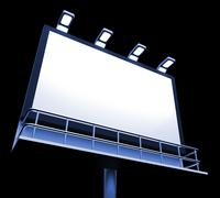 Stock Illustration of blank billboard copyspace shows advertising space